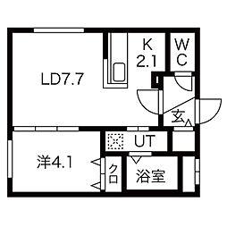 札幌市電2系統 西線11条駅 徒歩6分の賃貸マンション 1階1LDKの間取り