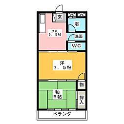 木野瀬マンション[3階]の間取り
