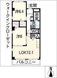愛知県名古屋市緑区神の倉2丁目の賃貸アパートの間取り