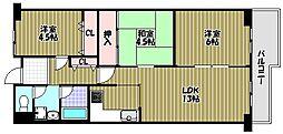 ファミリープラザ泉北光明池 3番館C棟[5階]の間取り
