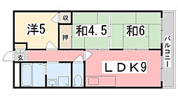 兵庫県姫路市飾磨区若宮町の賃貸マンションの間取り