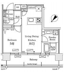 新交通ゆりかもめ 新豊洲駅 徒歩22分の賃貸マンション 7階1LDKの間取り