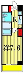 ジェンティーレ・トリヤマ 5階1Kの間取り