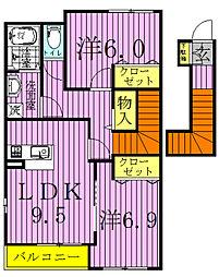 千葉県柏市松ケ崎の賃貸アパートの間取り