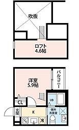 愛知県名古屋市中川区八熊2丁目の賃貸アパートの間取り