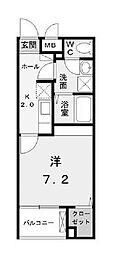 小田急小田原線 町田駅 徒歩16分の賃貸マンション 4階1Kの間取り