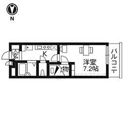 京阪宇治線 六地蔵駅 徒歩3分の賃貸マンション 3階1Kの間取り