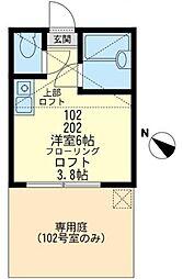 神奈川県横浜市鶴見区馬場5丁目の賃貸アパートの間取り