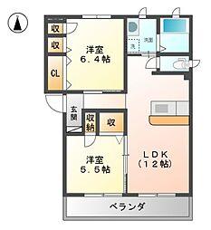 エスポワールGIYOU B[3階]の間取り
