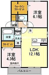 岡山県岡山市中区藤崎の賃貸アパートの間取り