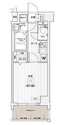 エステムコート京都東寺朱雀邸 3階1Kの間取り