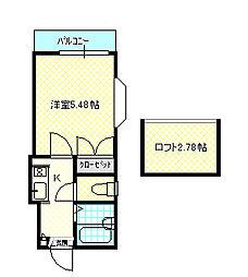 岡山県倉敷市北浜町の賃貸アパートの間取り