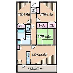 神奈川県横浜市港北区樽町4丁目の賃貸マンションの間取り