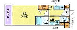 ハーモニーレジデンス品川高輪 2階1Kの間取り
