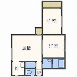 北海道札幌市北区太平二条4丁目の賃貸アパートの間取り