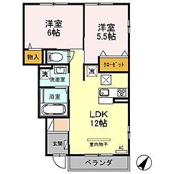 埼玉県さいたま市緑区中尾1274の賃貸アパートの間取り