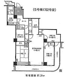 埼玉県さいたま市中央区上落合2丁目の賃貸マンションの間取り