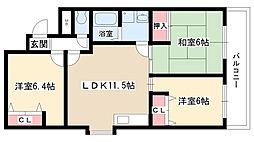 愛知県名古屋市天白区平針台1丁目の賃貸アパートの間取り