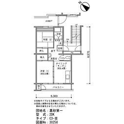真砂第一団地5-16[2階]の間取り
