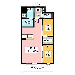 modern palazzo 姪浜 avenue[3階]の間取り