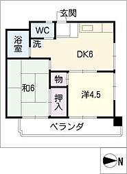 サン駒止ビル[4階]の間取り
