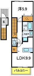 兵庫県加古川市米田町船頭の賃貸アパートの間取り