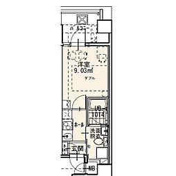 福岡市地下鉄七隈線 渡辺通駅 徒歩7分の賃貸マンション 2階1Kの間取り