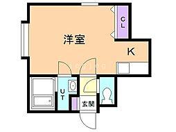 コンフォート恵み野 2階1Kの間取り