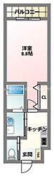 京阪本線 古川橋駅 徒歩5分の賃貸アパート 3階1Kの間取り