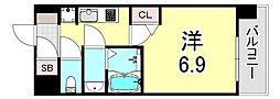 リッツ新大阪 11階1Kの間取り