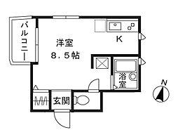 神奈川県川崎市高津区溝口4丁目の賃貸アパートの間取り