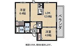 シャーメゾン東山 3階2LDKの間取り