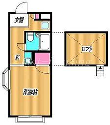 東京都練馬区立野町の賃貸アパートの間取り
