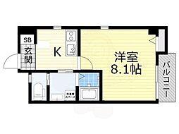 泉北高速鉄道 深井駅 徒歩5分の賃貸マンション 2階1Kの間取り