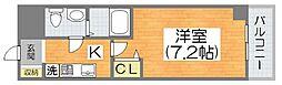 Osaka Metro谷町線 喜連瓜破駅 徒歩10分の賃貸マンション 3階1Kの間取り