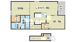 網干区新在家アパート2[203号室]の間取り