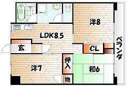 岡田グリーンハイツ[5階]の間取り