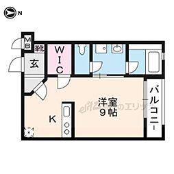 京阪本線 龍谷大前深草駅 徒歩7分の賃貸マンション 4階1Kの間取り