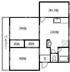サニーハイツA[2階]の間取り