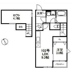 西鉄貝塚線 貝塚駅 徒歩10分の賃貸アパート 1階1LDKの間取り