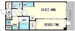 リッツ難波南II[4階]の間取り