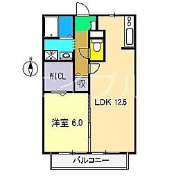 リヴェール北御座 B棟[2階]の間取り