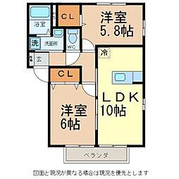 JR小海線 乙女駅 徒歩20分の賃貸アパート 1階2LDKの間取り