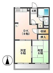 柿沢ハイツB[1階]の間取り