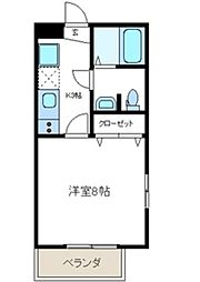 東京都品川区西中延3丁目の賃貸マンションの間取り