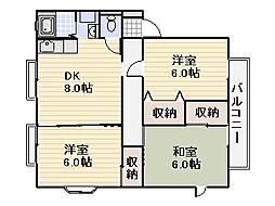 ビラージュベール福間 D棟[2階]の間取り