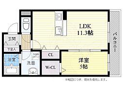 JR東海道・山陽本線 高槻駅 バス22分 上土室下車 徒歩2分の賃貸アパート 1階1LDKの間取り