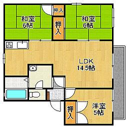 松之浜グリーンハイツ[2階]の間取り