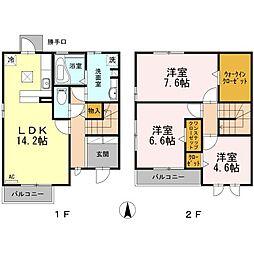 静岡県三島市光ケ丘の賃貸アパートの間取り