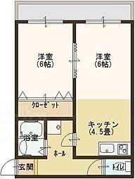 コーポ岩崎[207号室]の間取り